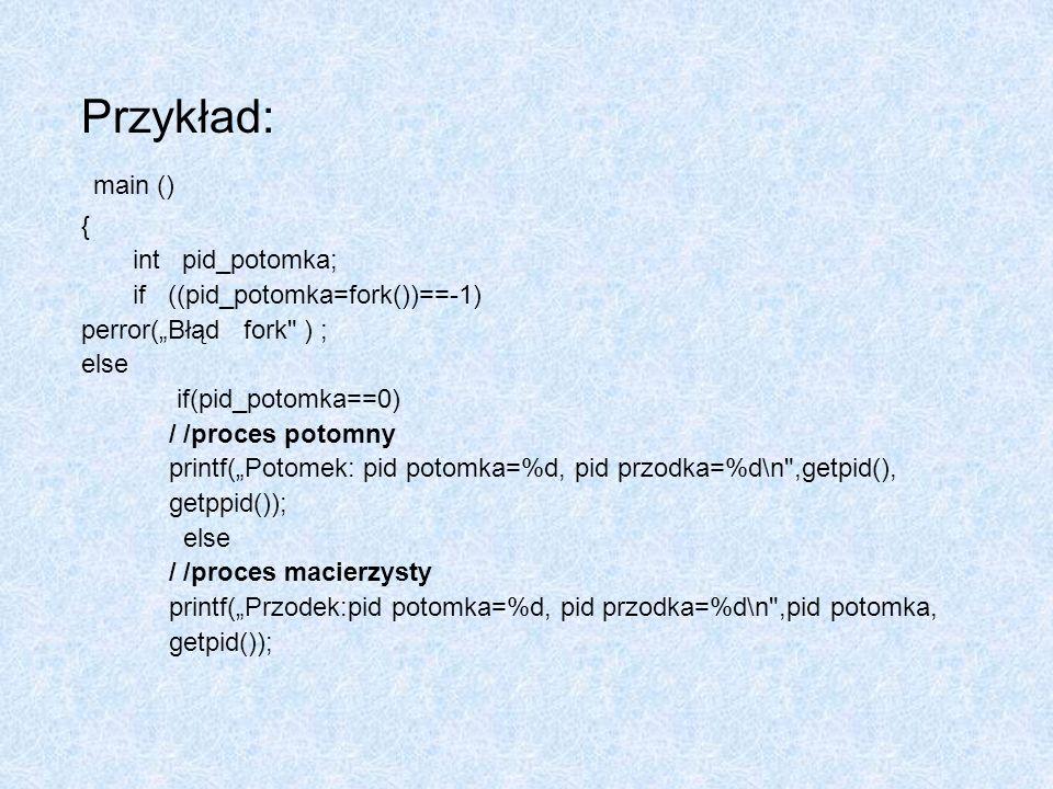 Przykład: main () { int pid_potomka; if ((pid_potomka=fork())==-1) perror(Błąd fork