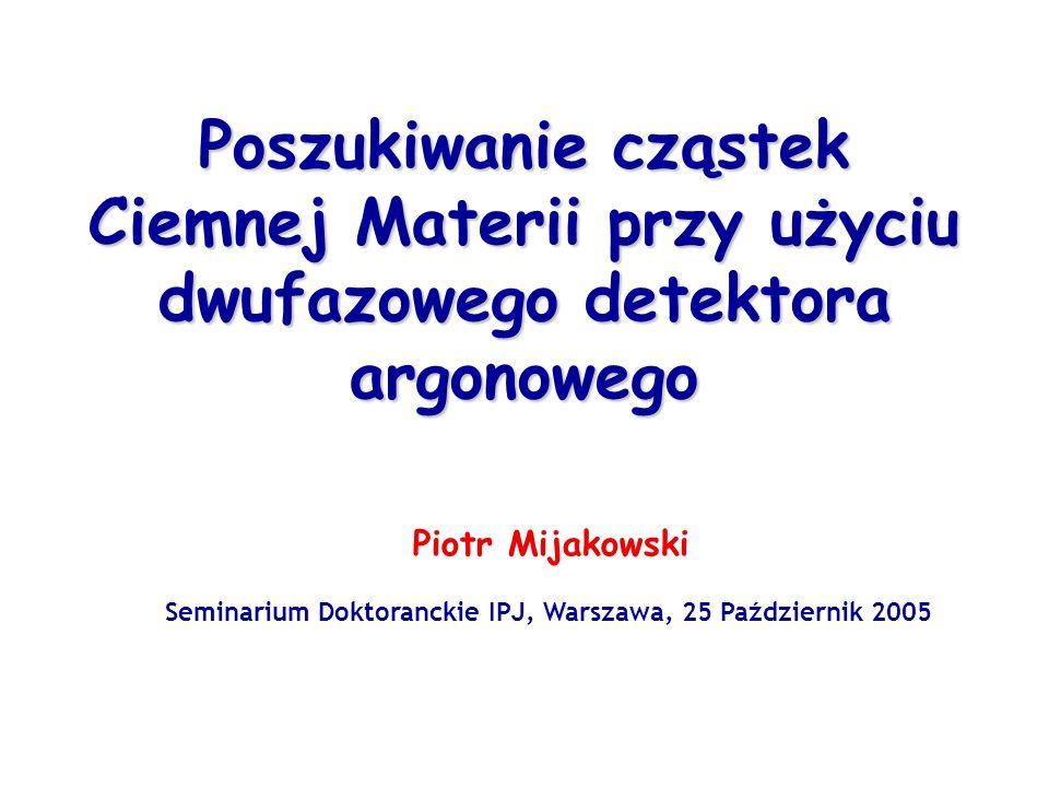 Poszukiwanie cząstek Ciemnej Materii przy użyciu dwufazowego detektora argonowego Piotr Mijakowski Seminarium Doktoranckie IPJ, Warszawa, 25 Październik 2005