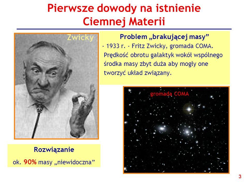 3 Pierwsze dowody na istnienie Ciemnej Materii Problem brakującej masy - 1933 r.