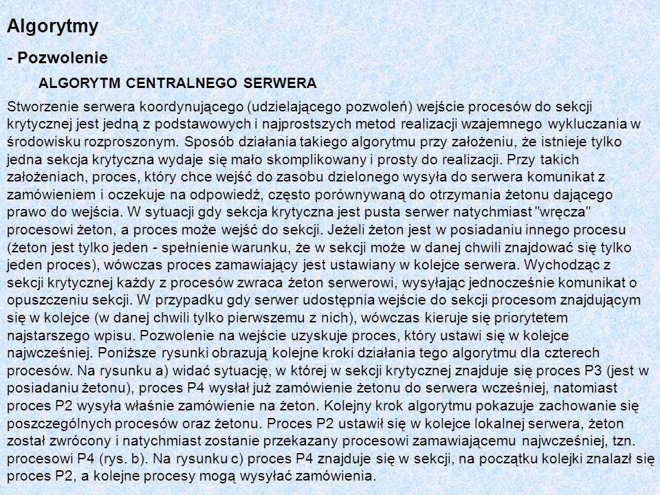 Algorytmy - Pozwolenie ALGORYTM CENTRALNEGO SERWERA Stworzenie serwera koordynującego (udzielającego pozwoleń) wejście procesów do sekcji krytycznej j