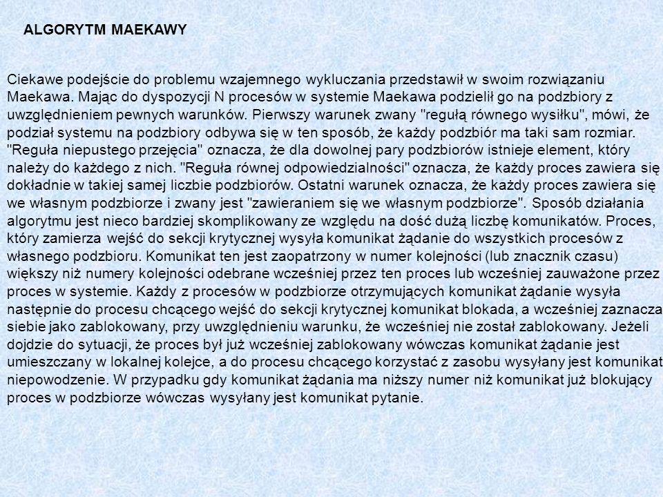 ALGORYTM MAEKAWY Ciekawe podejście do problemu wzajemnego wykluczania przedstawił w swoim rozwiązaniu Maekawa. Mając do dyspozycji N procesów w system