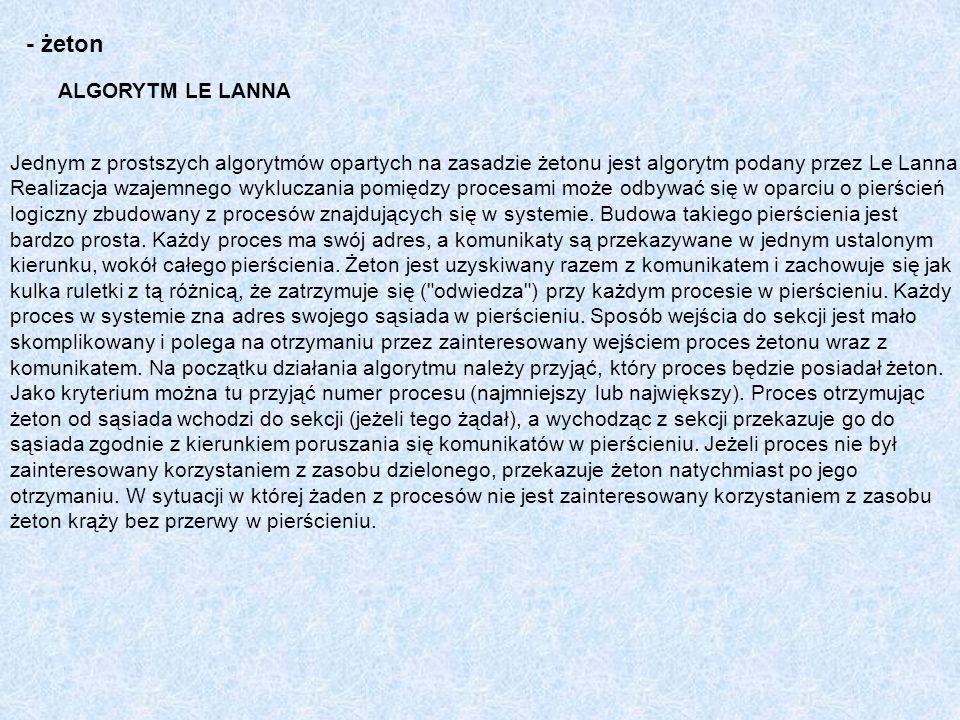 ALGORYTM LE LANNA - żeton Jednym z prostszych algorytmów opartych na zasadzie żetonu jest algorytm podany przez Le Lanna. Realizacja wzajemnego wykluc