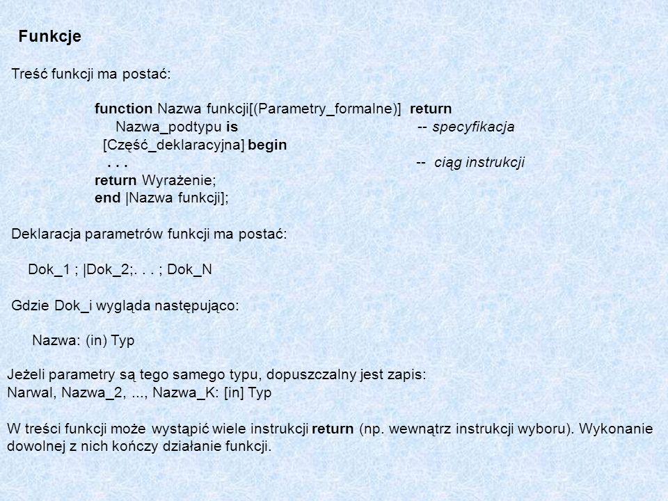Funkcje Treść funkcji ma postać: function Nazwa funkcji[(Parametry_formalne)] return Nazwa_podtypu is -- specyfikacja [Część_deklaracyjna] begin... --