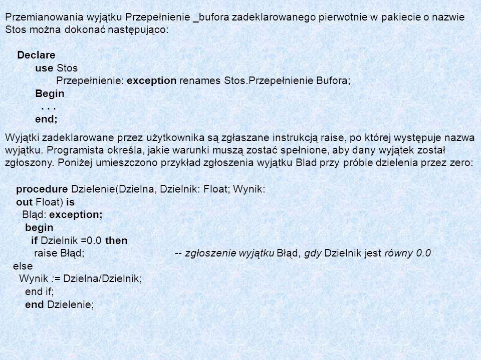 Przemianowania wyjątku Przepełnienie _bufora zadeklarowanego pierwotnie w pakiecie o nazwie Stos można dokonać następująco: Declare use Stos Przepełni
