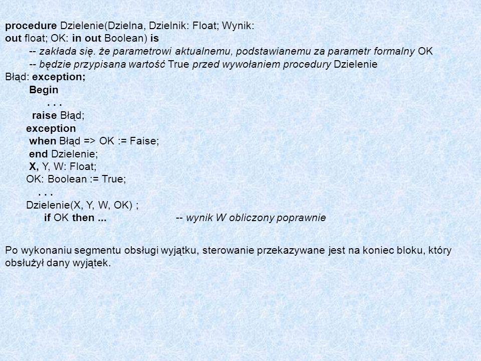 procedure Dzielenie(Dzielna, Dzielnik: Float; Wynik: out float; OK: in out Boolean) is -- zakłada się. że parametrowi aktualnemu, podstawianemu za par
