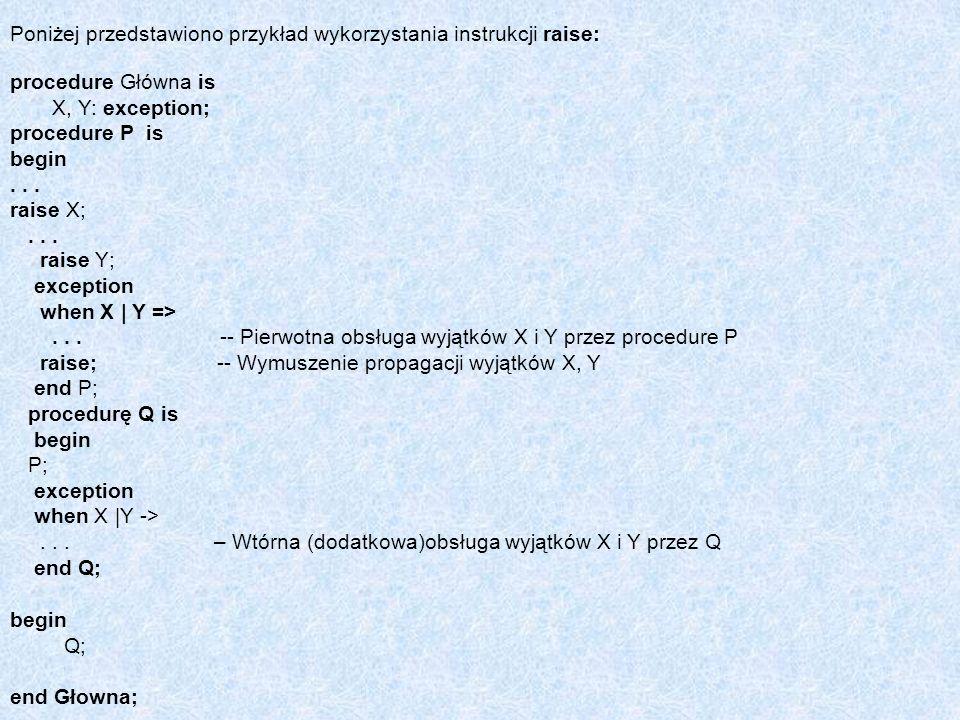 Poniżej przedstawiono przykład wykorzystania instrukcji raise: procedure Główna is X, Y: exception; procedure P is begin... raise X;... raise Y; excep