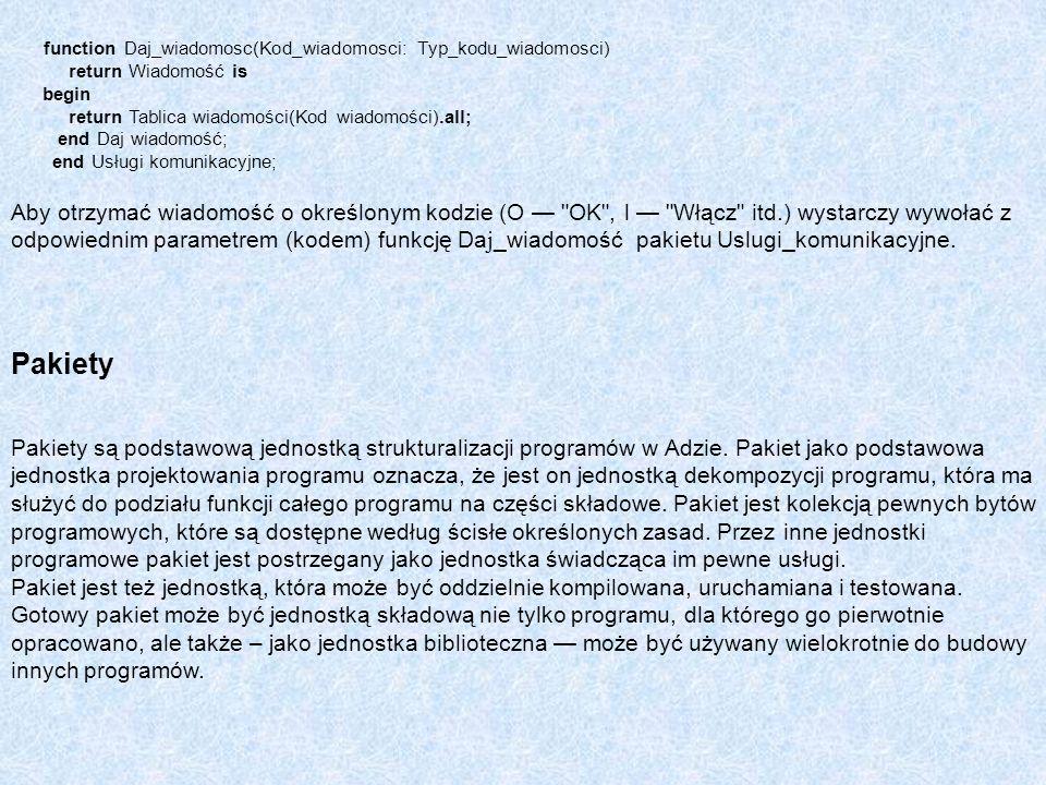 function Daj_wiadomosc(Kod_wiadomosci: Typ_kodu_wiadomosci) return Wiadomość is begin return Tablica wiadomości(Kod wiadomości).all; end Daj wiadomość