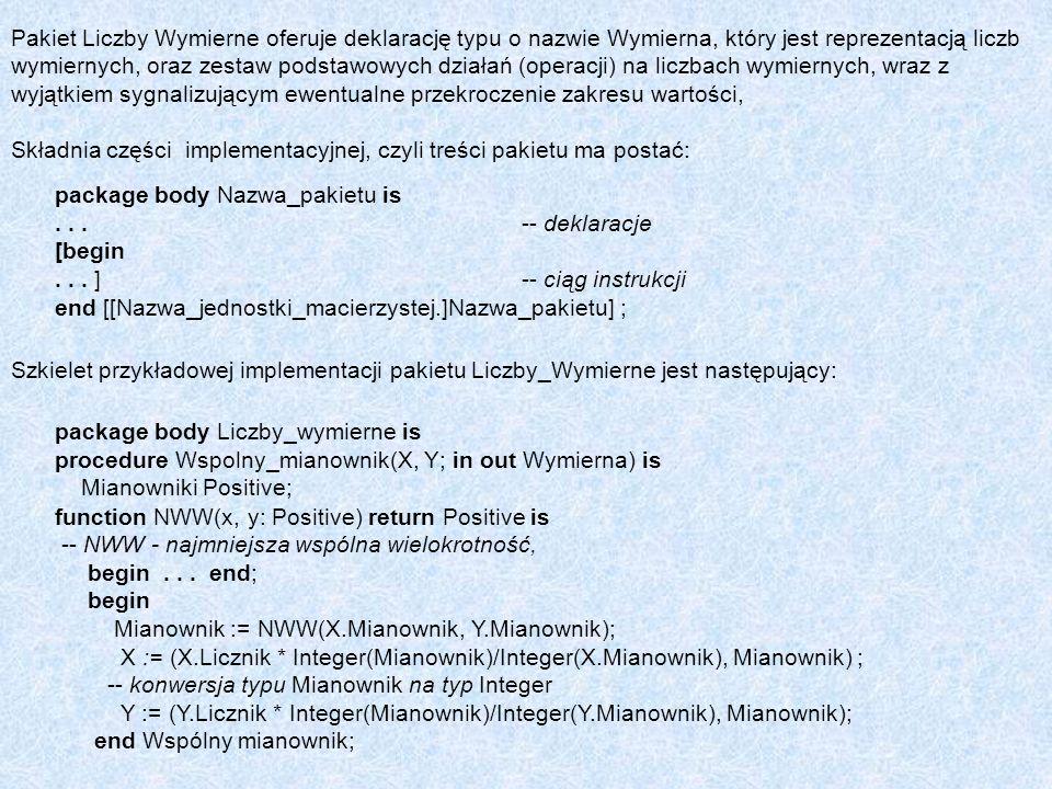 Pakiet Liczby Wymierne oferuje deklarację typu o nazwie Wymierna, który jest reprezentacją liczb wymiernych, oraz zestaw podstawowych działań (operacj
