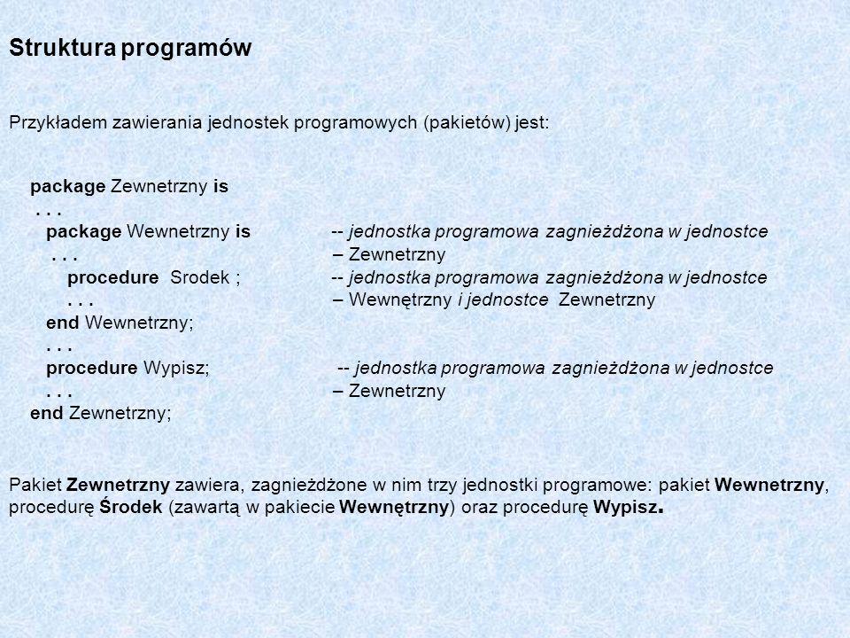 Struktura programów Przykładem zawierania jednostek programowych (pakietów) jest: package Zewnetrzny is... package Wewnetrzny is -- jednostka programo