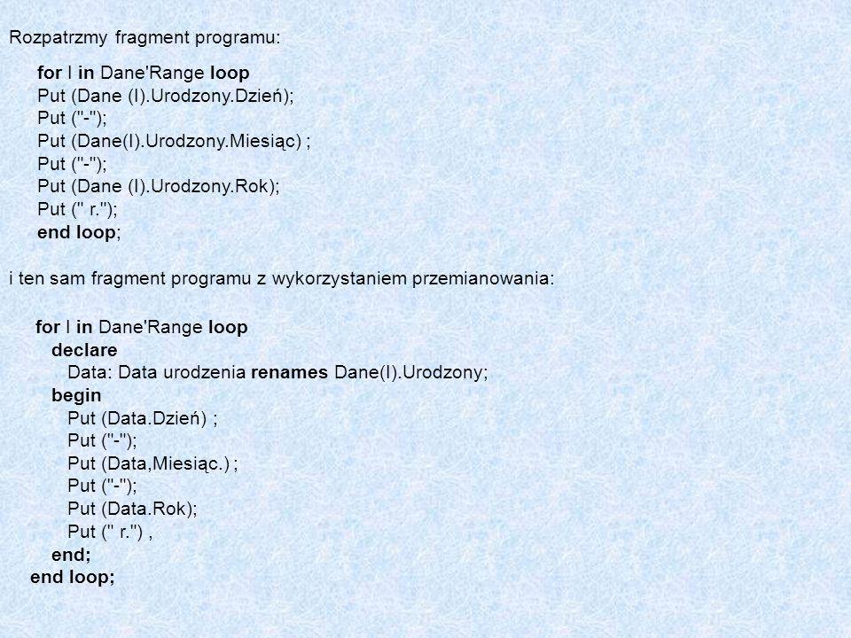 Rozpatrzmy fragment programu: for I in Dane'Range loop Put (Dane (I).Urodzony.Dzień); Put (