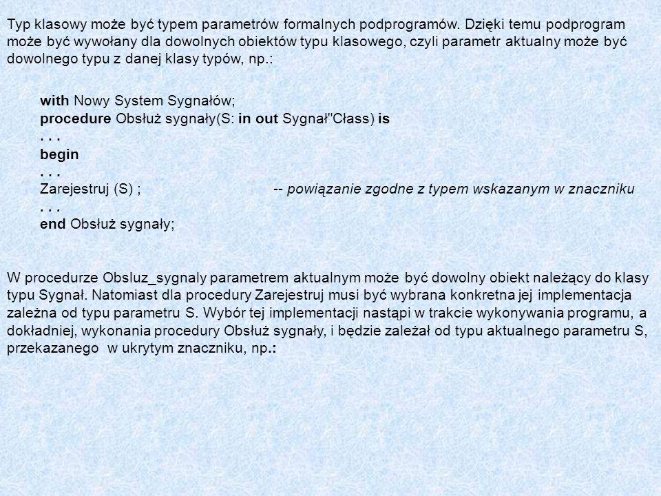 Typ klasowy może być typem parametrów formalnych podprogramów. Dzięki temu podprogram może być wywołany dla dowolnych obiektów typu klasowego, czyli p