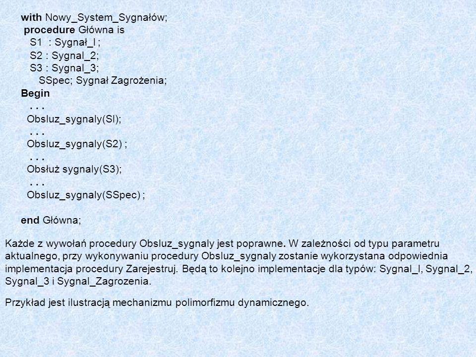 with Nowy_System_Sygnałów; procedure Główna is S1 : Sygnał_l ; S2 : Sygnal_2; S3 : Sygnal_3; SSpec; Sygnał Zagrożenia; Begin... Obsluz_sygnaly(Sl);...