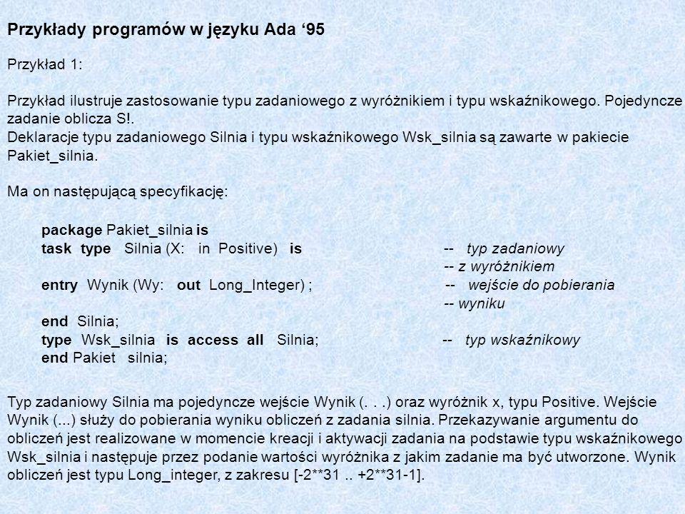 Przykłady programów w języku Ada 95 Przykład 1: Przykład ilustruje zastosowanie typu zadaniowego z wyróżnikiem i typu wskaźnikowego. Pojedyncze zadan