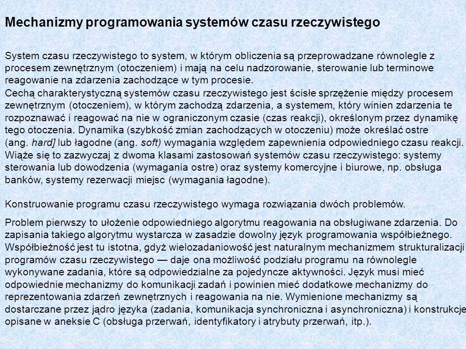 Mechanizmy programowania systemów czasu rzeczywistego System czasu rzeczywistego to system, w którym obliczenia są przeprowadzane równolegle z procese