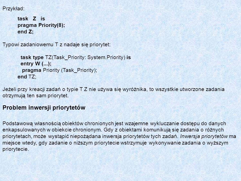 Przykład: task Z is pragma Priority(8); end Z; Typowi zadaniowemu T z nadaje się priorytet: task type TZ(Task_Priority: System.Priority) is entry W (.