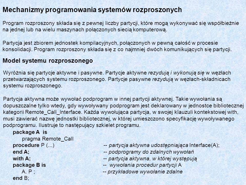 Mechanizmy programowania systemów rozproszonych Program rozproszony składa się z pewnej liczby partycji, które mogą wykonywać się współbieżnie na jedn