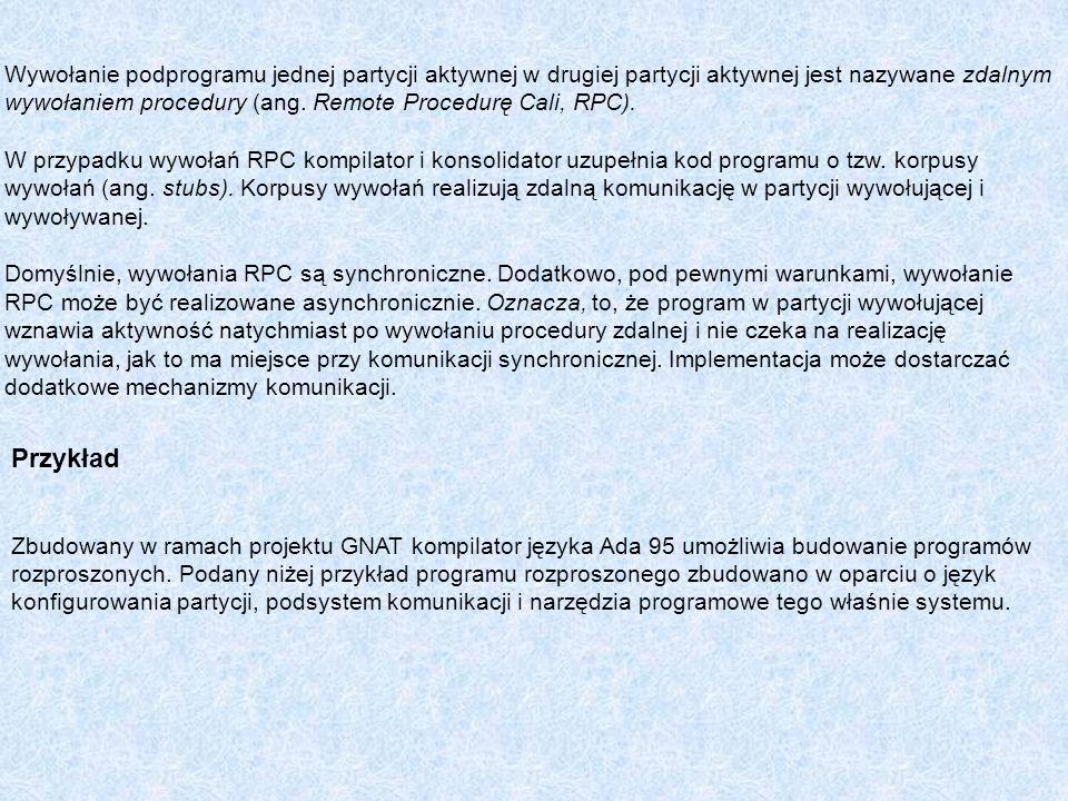 Wywołanie podprogramu jednej partycji aktywnej w drugiej partycji aktywnej jest nazywane zdalnym wywołaniem procedury (ang. Remote Procedurę Cali, RPC