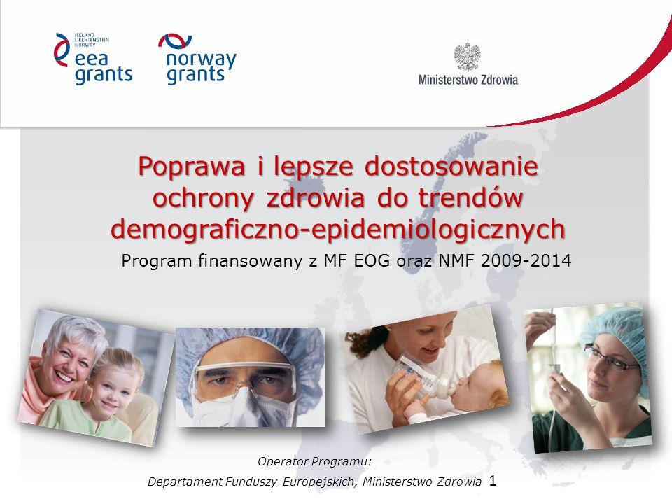 1 Poprawa i lepsze dostosowanie ochrony zdrowia do trendów demograficzno-epidemiologicznych Program finansowany z MF EOG oraz NMF 2009-2014 Operator P