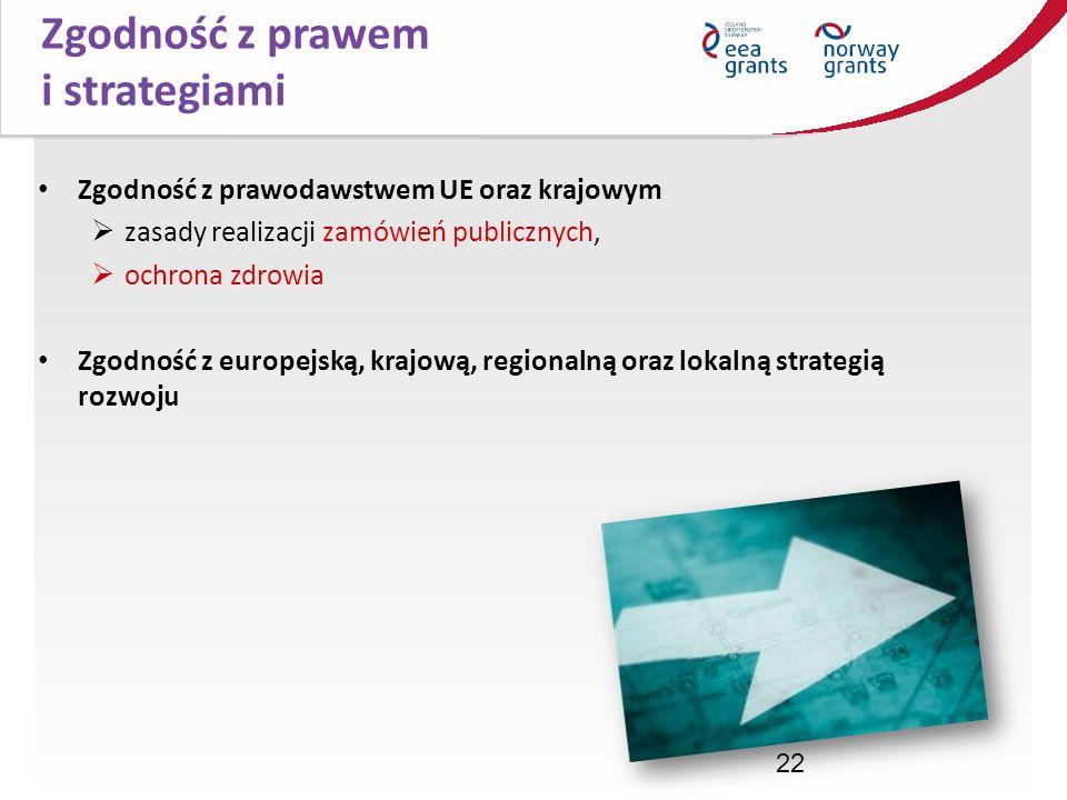 22 Zgodność z prawodawstwem UE oraz krajowym zasady realizacji zamówień publicznych, ochrona zdrowia Zgodność z europejską, krajową, regionalną oraz l