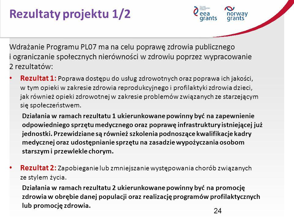 24 Wdrażanie Programu PL07 ma na celu poprawę zdrowia publicznego i ograniczanie społecznych nierówności w zdrowiu poprzez wypracowanie 2 rezultatów: