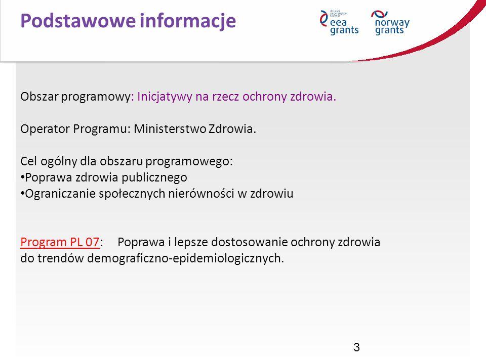 3 Podstawowe informacje Obszar programowy: Inicjatywy na rzecz ochrony zdrowia. Operator Programu: Ministerstwo Zdrowia. Cel ogólny dla obszaru progra