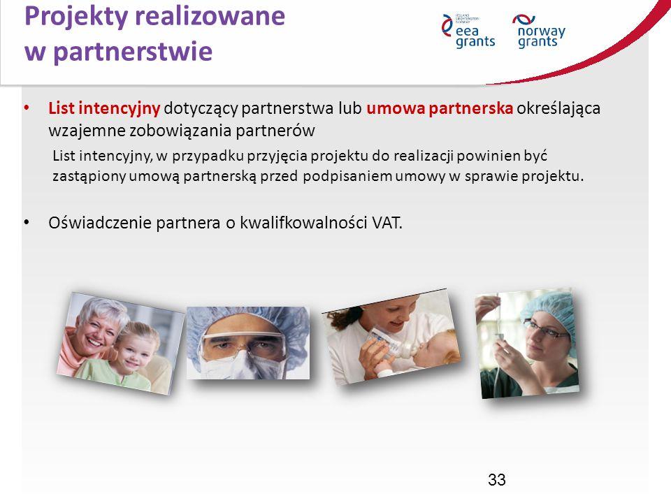 33 List intencyjny dotyczący partnerstwa lub umowa partnerska określająca wzajemne zobowiązania partnerów List intencyjny, w przypadku przyjęcia proje
