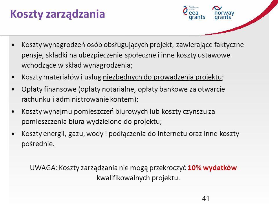 41 Koszty zarządzania Koszty wynagrodzeń osób obsługujących projekt, zawierające faktyczne pensje, składki na ubezpieczenie społeczne i inne koszty us