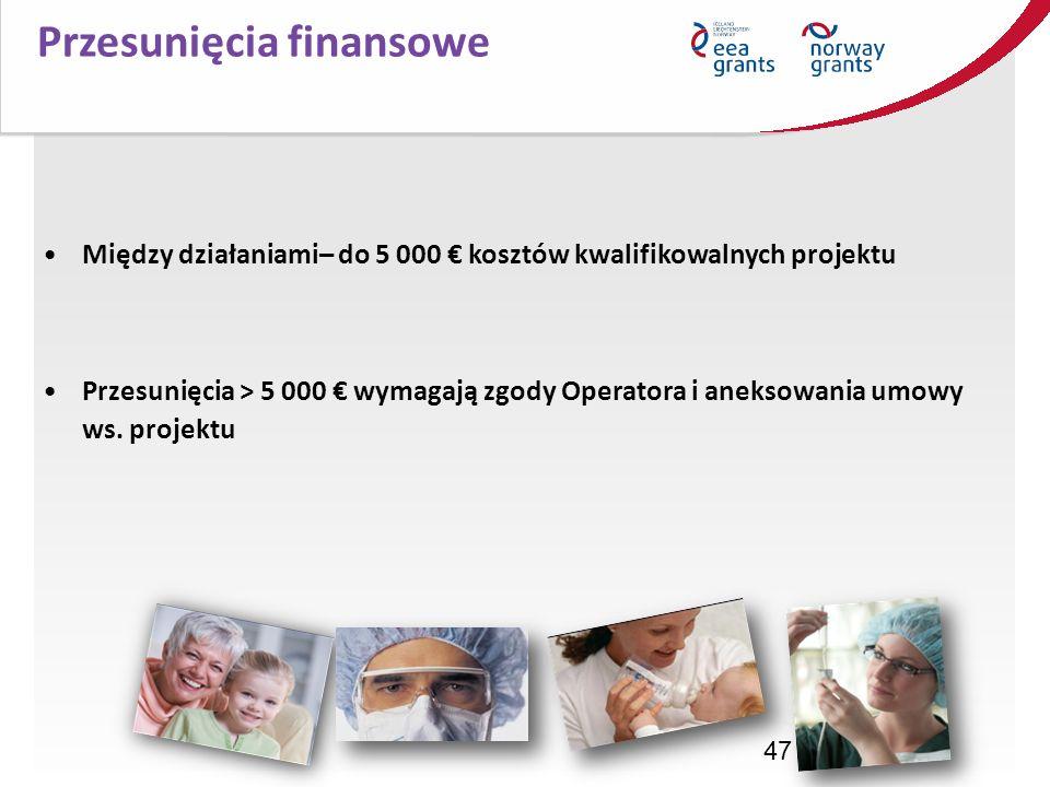47 Przesunięcia finansowe Między działaniami– do 5 000 kosztów kwalifikowalnych projektu Przesunięcia > 5 000 wymagają zgody Operatora i aneksowania u