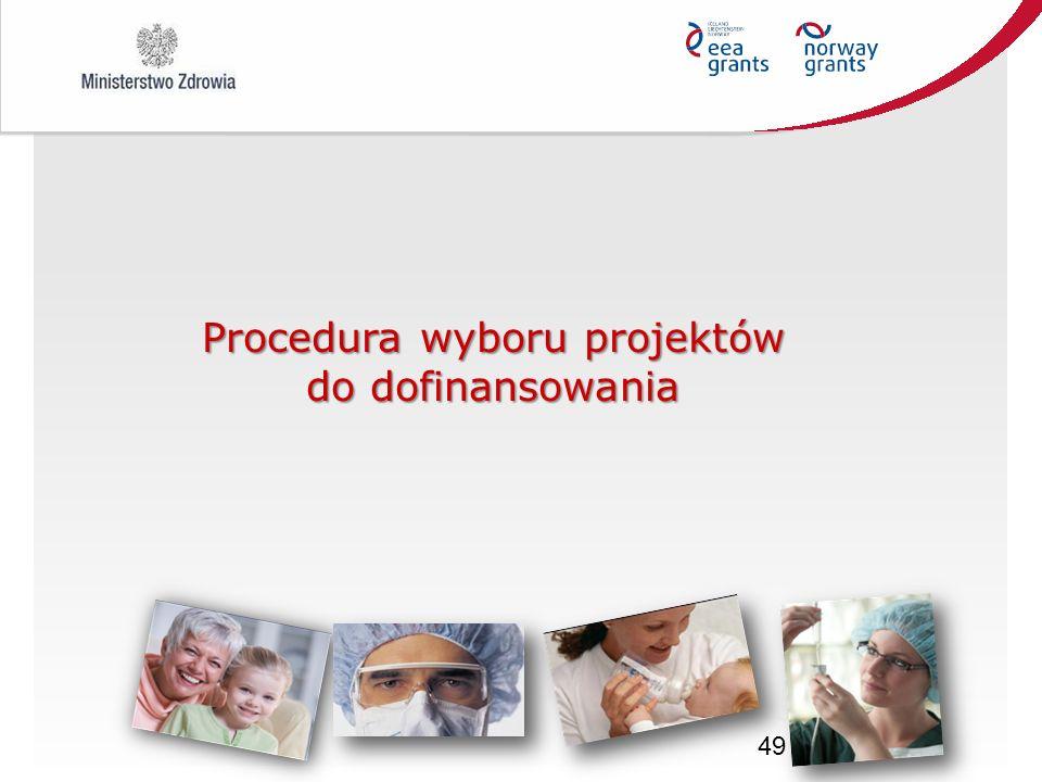 49 Procedura wyboru projektów do dofinansowania