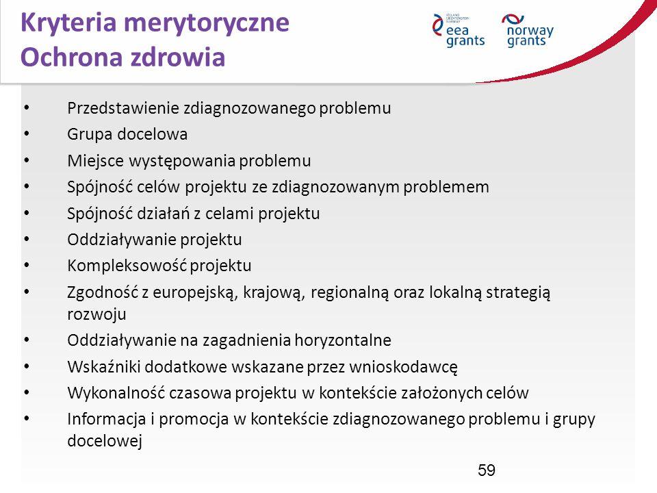 59 Kryteria merytoryczne Ochrona zdrowia Przedstawienie zdiagnozowanego problemu Grupa docelowa Miejsce występowania problemu Spójność celów projektu
