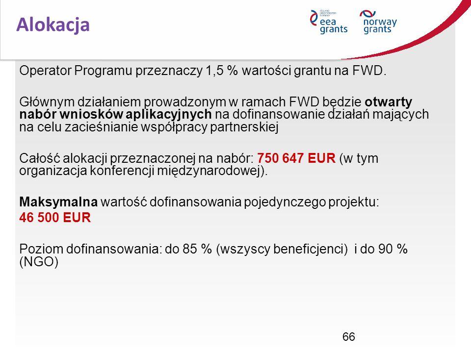 66 Operator Programu przeznaczy 1,5 % wartości grantu na FWD. Głównym działaniem prowadzonym w ramach FWD będzie otwarty nabór wniosków aplikacyjnych