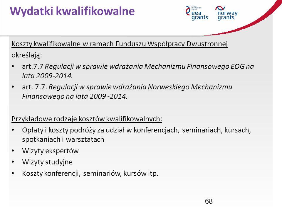 68 Koszty kwalifikowalne w ramach Funduszu Współpracy Dwustronnej określają: art.7.7 Regulacji w sprawie wdrażania Mechanizmu Finansowego EOG na lata
