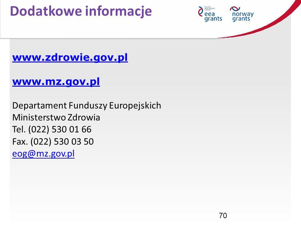 70 www.zdrowie.gov.pl www.mz.gov.pl www.zdrowie.gov.pl www.mz.gov.pl Departament Funduszy Europejskich Ministerstwo Zdrowia Tel. (022) 530 01 66 Fax.