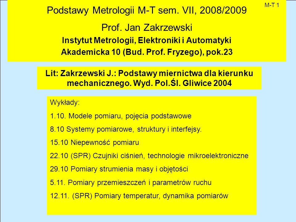 Podstawy Metrologii M-T sem.VII, 2008/2009 Prof.