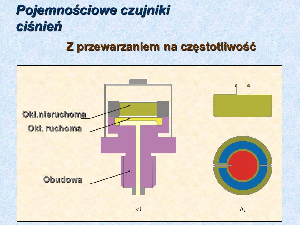 właściwości: od 10 kPa do 50 MPa zakres: 60 do 130 kHz częstotl.własna: 0,3%nieliniowość: 0,3%histereza: 175%przeciążalność:membrana: 5 do 30 mm 5 do