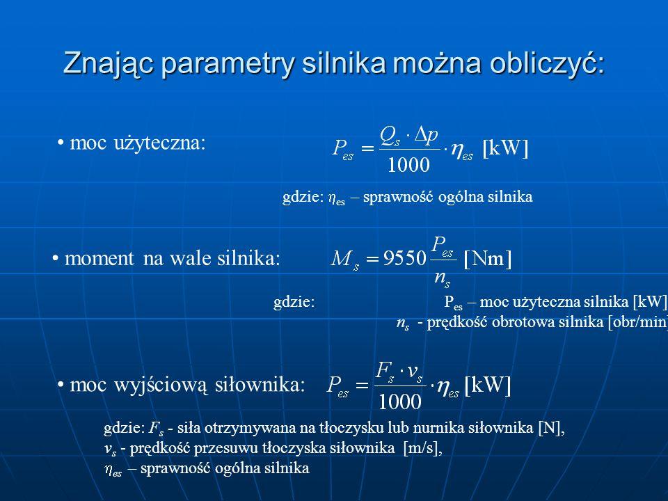 Znając parametry silnika można obliczyć: moc użyteczna: gdzie: es – sprawność ogólna silnika moment na wale silnika: gdzie: P es – moc użyteczna silni
