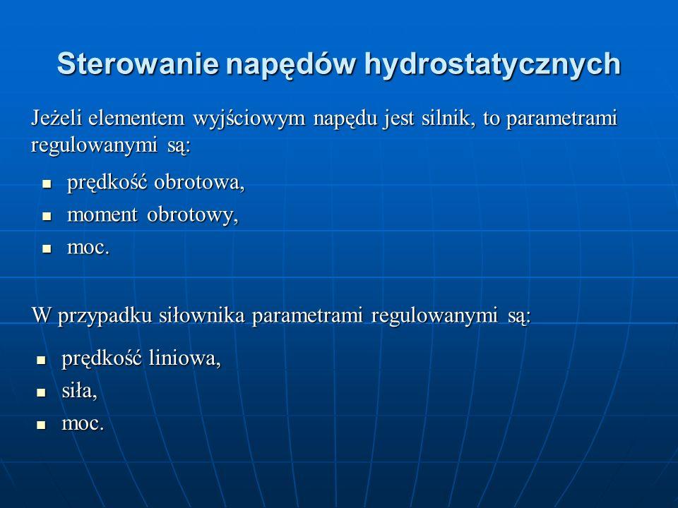 Sterowanie napędów hydrostatycznych prędkość obrotowa, prędkość obrotowa, moment obrotowy, moment obrotowy, moc. moc. Jeżeli elementem wyjściowym napę