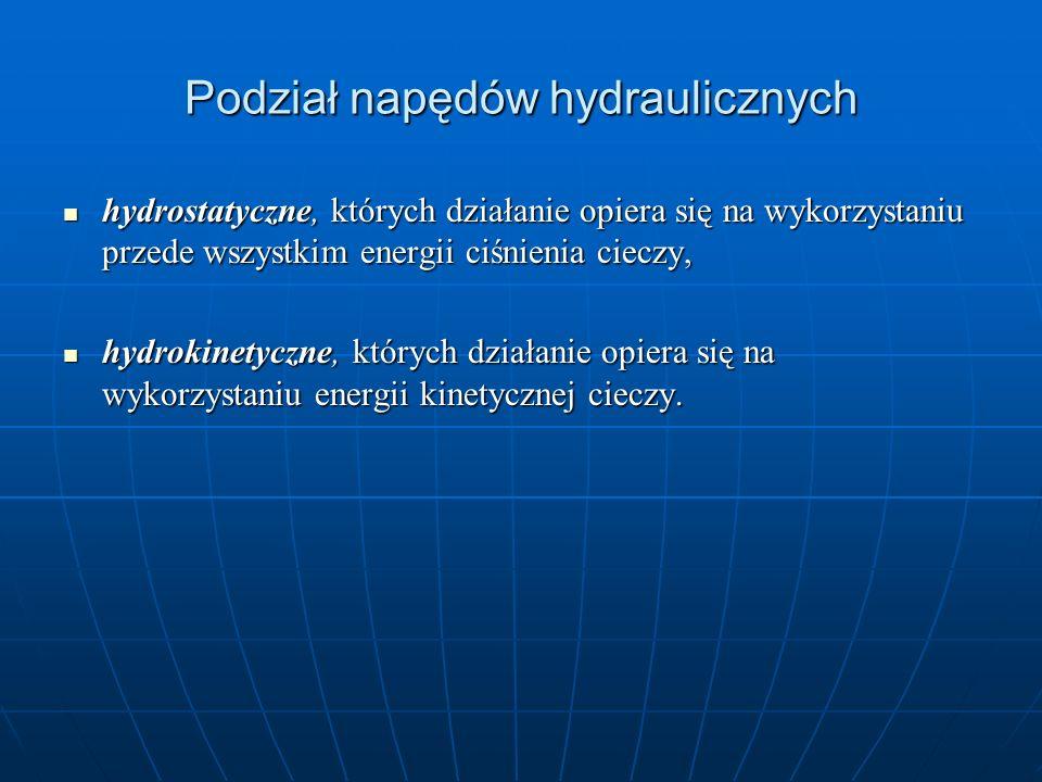 Podział napędów hydraulicznych hydrostatyczne, których działanie opiera się na wykorzystaniu przede wszystkim energii ciśnienia cieczy, hydrostatyczne