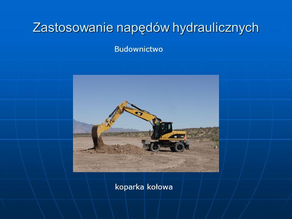 Zastosowanie napędów hydraulicznych Budownictwo koparka kołowa