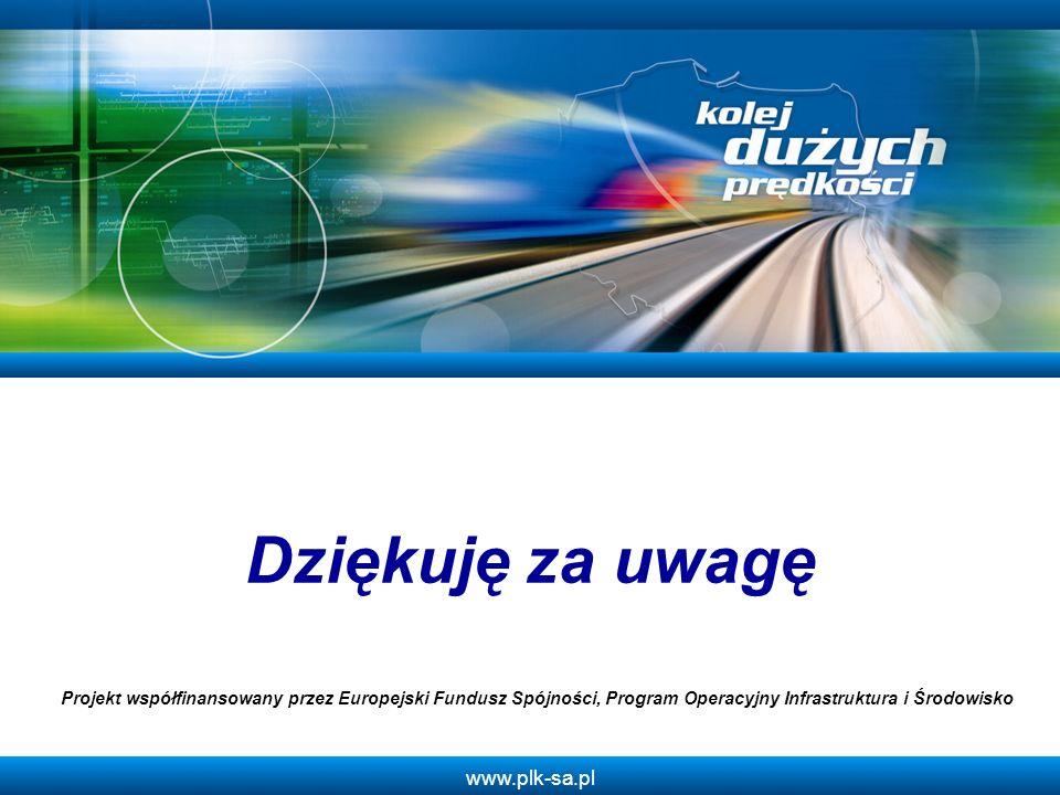 www.plk-sa.pl Dziękuję za uwagę Projekt współfinansowany przez Europejski Fundusz Spójności, Program Operacyjny Infrastruktura i Środowisko