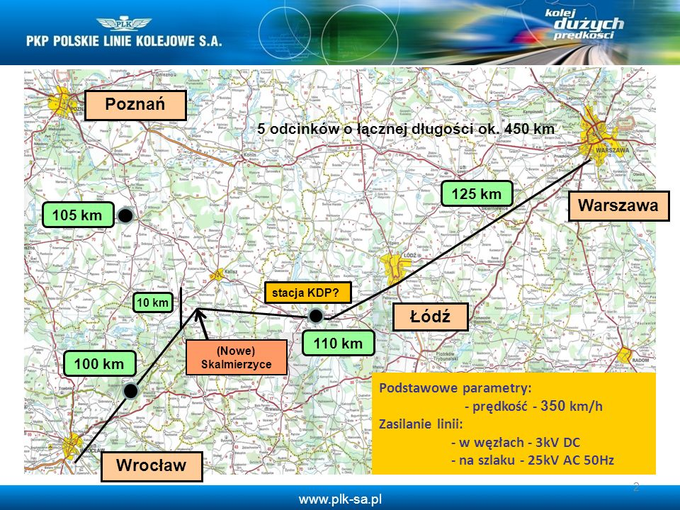 www.plk-sa.pl 2 105 km 100 km 125 km Warszawa Wrocław Podstawowe parametry: - prędkość - 350 km/h Zasilanie linii: - w węzłach - 3kV DC - na szlaku -