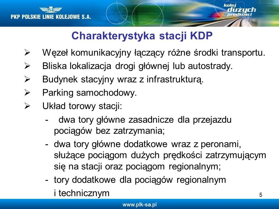www.plk-sa.pl Charakterystyka stacji KDP Węzeł komunikacyjny łączący różne środki transportu. Bliska lokalizacja drogi głównej lub autostrady. Budynek