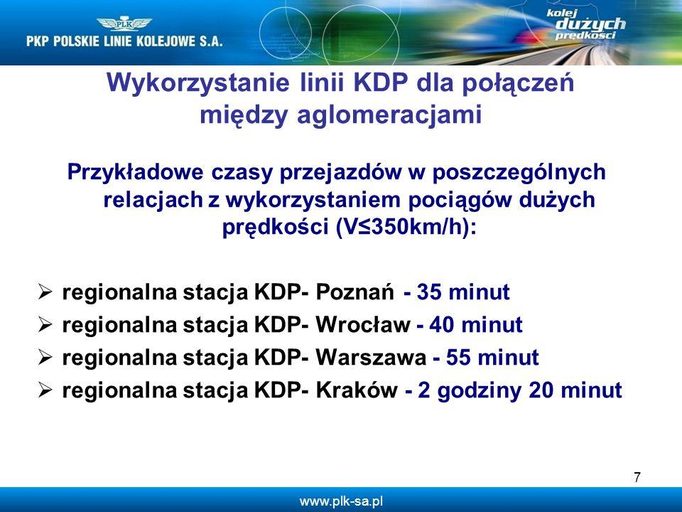 www.plk-sa.pl Wykorzystanie linii KDP dla połączeń między aglomeracjami Przykładowe czasy przejazdów w poszczególnych relacjach z wykorzystaniem pocią