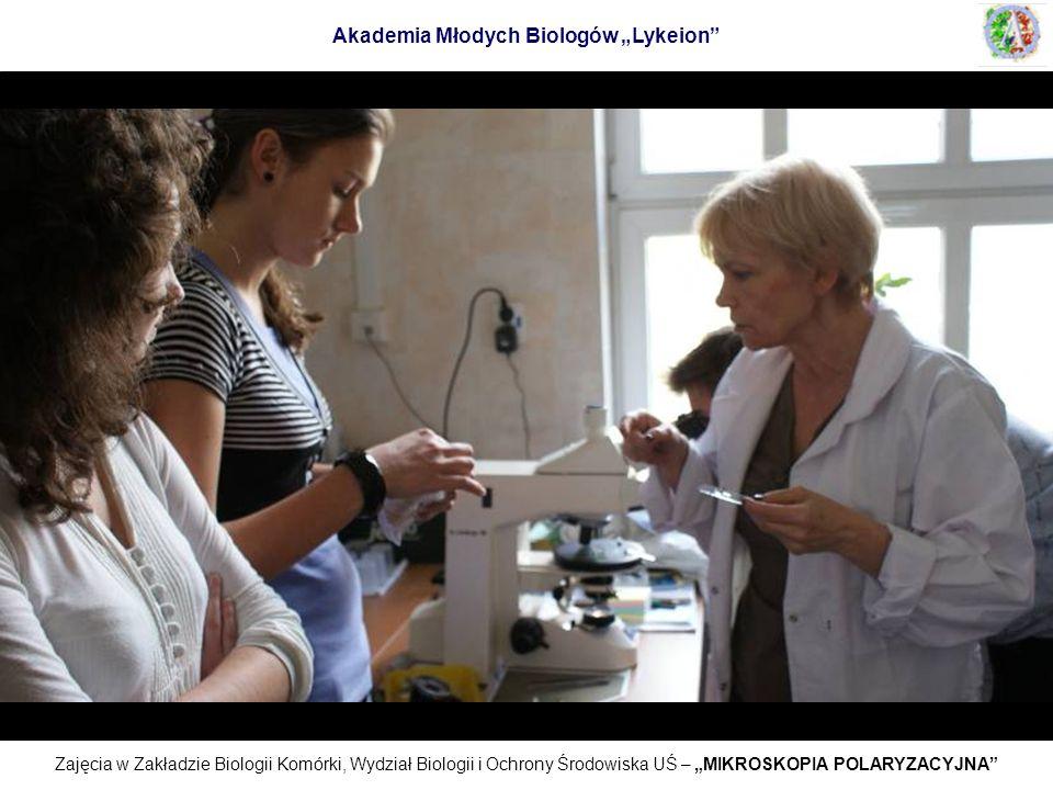 Zajęcia w Zakładzie Biologii Komórki, Wydział Biologii i Ochrony Środowiska UŚ – MIKROSKOPIA POLARYZACYJNA Akademia Młodych Biologów Lykeion