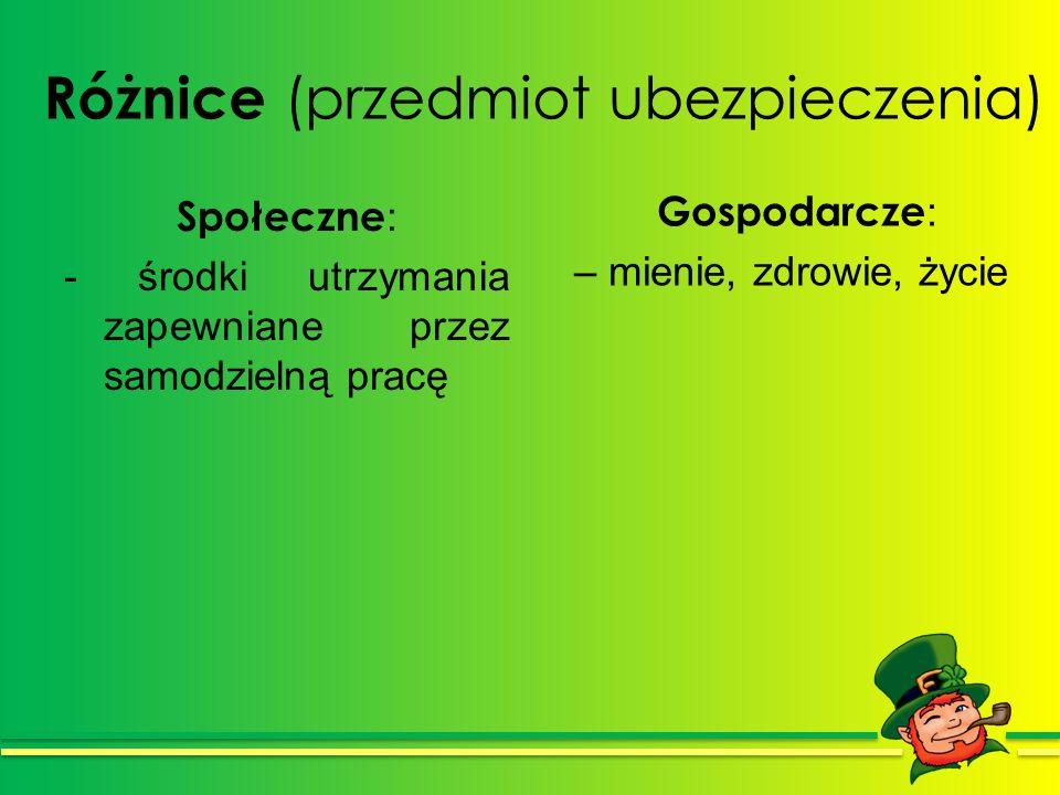 Różnice (przedmiot ubezpieczenia) Społeczne : - środki utrzymania zapewniane przez samodzielną pracę Gospodarcze : – mienie, zdrowie, życie
