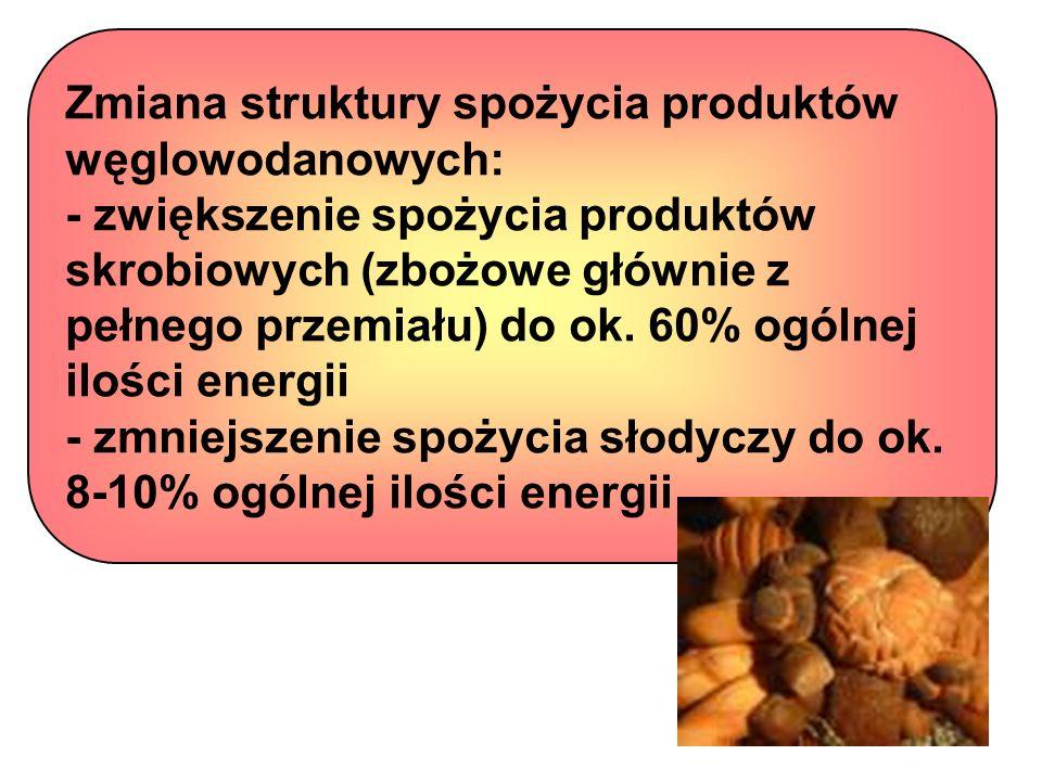 Zmiana struktury spożycia produktów węglowodanowych: - zwiększenie spożycia produktów skrobiowych (zbożowe głównie z pełnego przemiału) do ok. 60% ogó