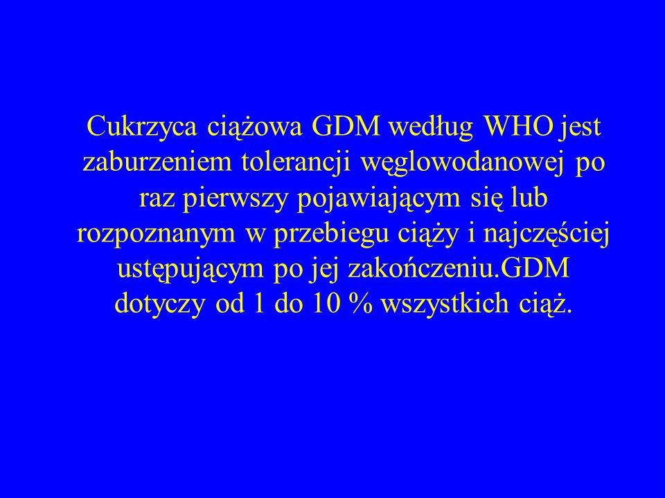 Cukrzyca ciążowa GDM według WHO jest zaburzeniem tolerancji węglowodanowej po raz pierwszy pojawiającym się lub rozpoznanym w przebiegu ciąży i najczę