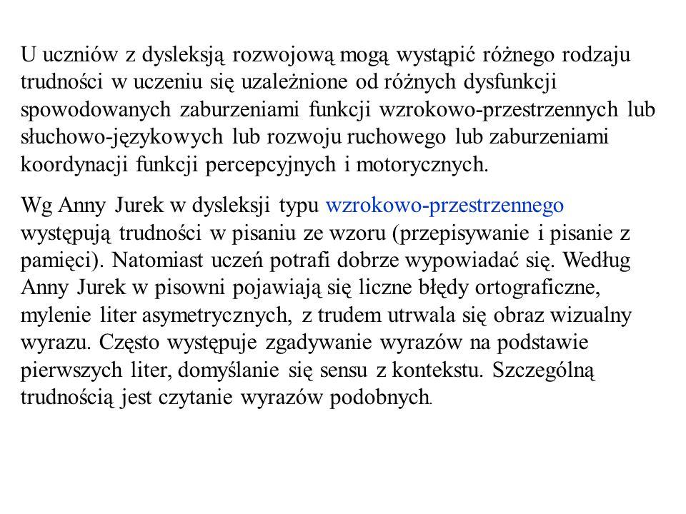 W dysleksji typu słuchowo-językowego występują trudności w pisaniu ze słuchu., trudności w wypowiadaniu się, błędy gramatyczne.