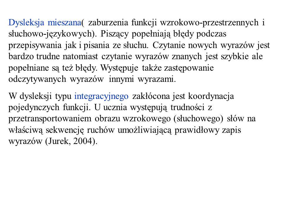 Dysleksja mieszana( zaburzenia funkcji wzrokowo-przestrzennych i słuchowo-językowych). Piszący popełniają błędy podczas przepisywania jak i pisania ze