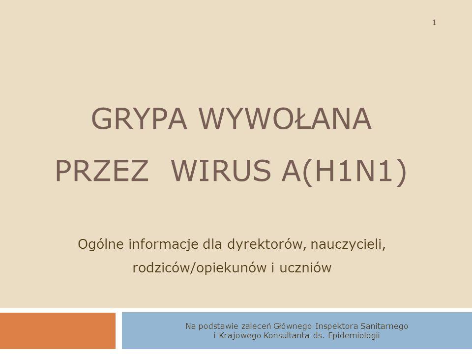 12 Grypa wywołana przez wirus typu A(H1N1) Wojewódzka Stacja Sanitarno - Epidemiologiczna w Poznaniu zorganizować dla uczniów oraz dla rodziców szkolenie z zakresu zapobiegania szerzenia się zakażeń wirusem nowej grypy A(H1N1), obserwować dzieci i młodzież wykazującą objawy grypopodobne takie jak: gorączka, kaszel, ból gardła, ból mięsni, ból głowy, dreszcze, osłabienie, w niektórych przypadkach biegunka, w przypadku stwierdzenia takich objawów u ucznia w szkole należy natychmiast umieścić go w pomieszczeniu odosobnionym, poinformować rodziców lub opiekunów o zaobserwowanych objawach celem konsultacji z lekarzem rodzinnym lub pediatrą,